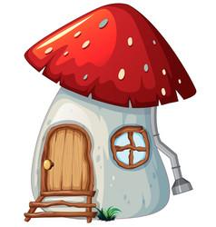 Mushroom house on white background vector