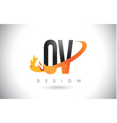 ov o v letter logo with fire flames design and vector image