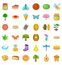 Pancake icons set cartoon style vector