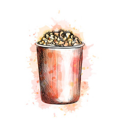paper cup with popcorn from a splash of watercolor vector image