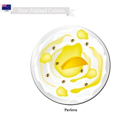 Pavlova meringue cake with mangoes new zealand vector