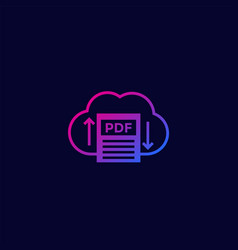 Pdf upload to cloud icon for web and apps vector