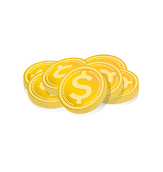 Pile of gold coins isolated vector