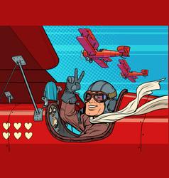 pilot man in plane love valentines day vector image
