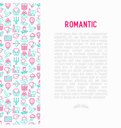 romantic concept with thin line icons vector image
