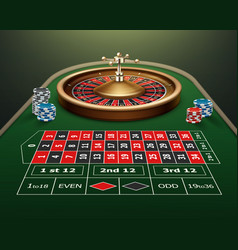 Roulette table and wheel vector