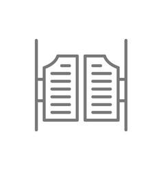 Saloon door line icon vector