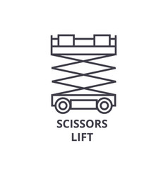 Scissors lift line icon sign vector