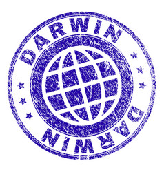 scratched textured darwin stamp seal vector image