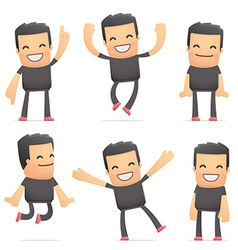 Set of bad guy character in different poses vector