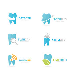 set tooth logo combination dental and oral vector image