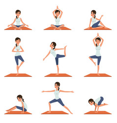 Set with young girl in different poses of yoga vector