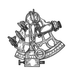 sextant navigation instrument engraving vector image
