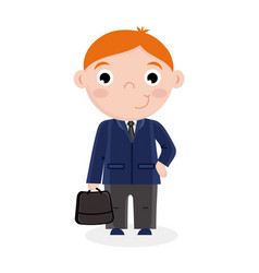 Smiling little boy in business suit with suitcase vector