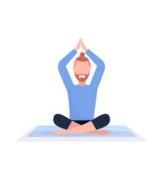 sporty man sitting lotus pose doing yoga exercises vector image