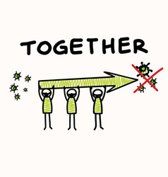 Support each other corona virus covid 19 stickman vector