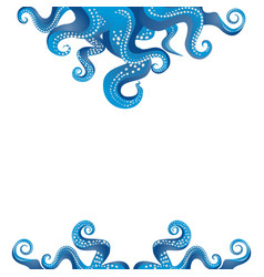 tentacles of an octopus blue and white frame vector image
