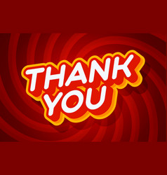 thank you red and yellow text effect template vector image