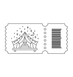 Ticket with barcode and tent vector