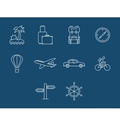 Travel and transport buttons set vector image