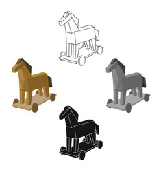 Trojan horse icon in cartoonblack style isolated vector