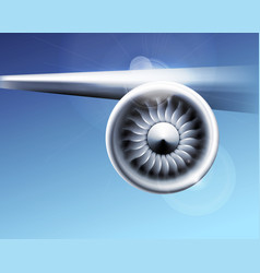 Turbine engine jet for airplane with fan blades vector