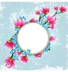 vintage floral magnolia frame vector image