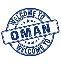 Welcome to oman blue round vintage stamp vector