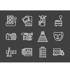White line icons for party vector