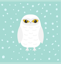 White snowy owl sitting bird with wings snow barn vector