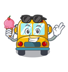 With ice cream school bus character cartoon vector