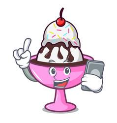 With phone ice cream sundae character cartoon vector