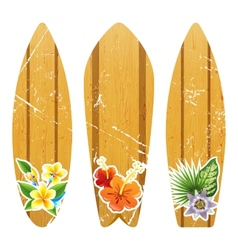 wooden surfboards with floral prints vector image