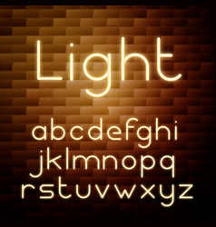 yellow glowing neon alphabet vector image