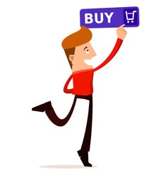 young man press the buy button vector image