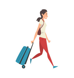 young woman walking with suitcase on wheels girl vector image