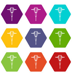 pneumatic plugger hammer icon set color hexahedron vector image