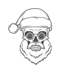 Bearded skull santa claus with glasses poster vector