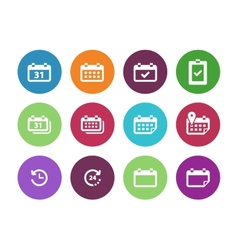 Calendar circle icons on white background vector image