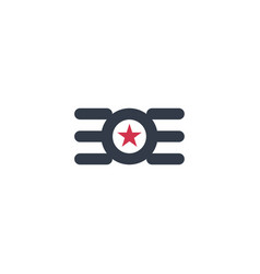 circle star wing logo abstract design concept vector image