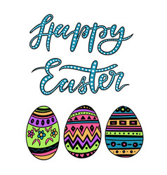 happy easter colorful lettering with egs vector image vector image