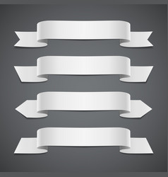 white ribbons on gray background vector image