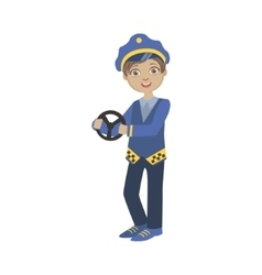 Boy Dressed As Taxi Driver Holding Car Stirring vector image vector image