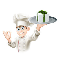 chef giving gift vector image