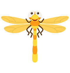 dragonfly with yellow wings vector image