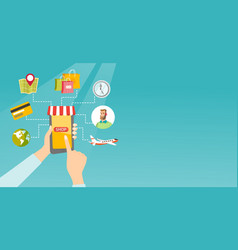 hands holding phone connected with shopping icons vector image