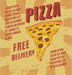 retro vintage pizza poster label vector image