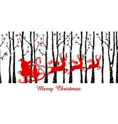 Santa in birch tree forest vector image