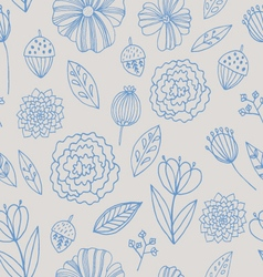 Seamless pattern with autumn flowers leave vector image