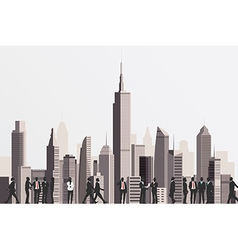 Silhouettes of business people with skyscraper vector image vector image